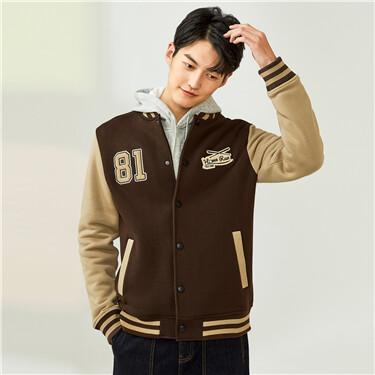 Fleece-lined embroidery bomber jacket