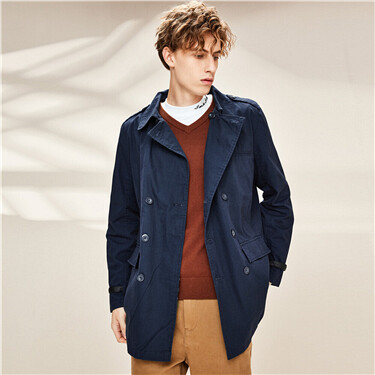 Turn-down collar double-breasted jacket