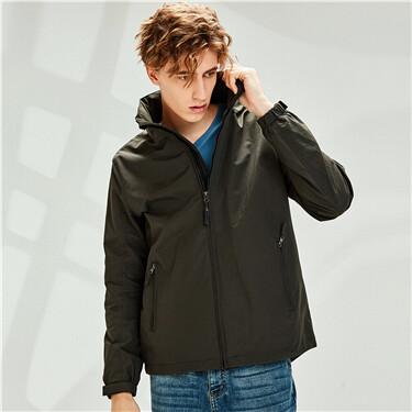 Mesh lining hooded jacket