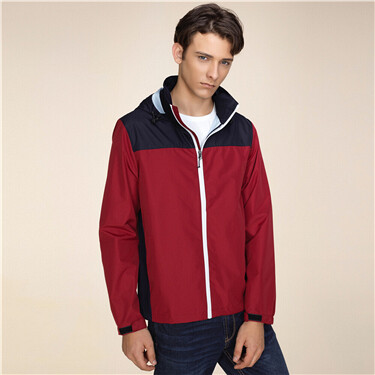 Waterproof contrast hooded jacket