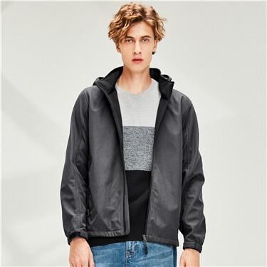 Bonded polar fleece detachable hood jacket