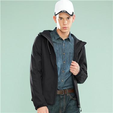 防风保暖摇粒绒内里连帽夹克