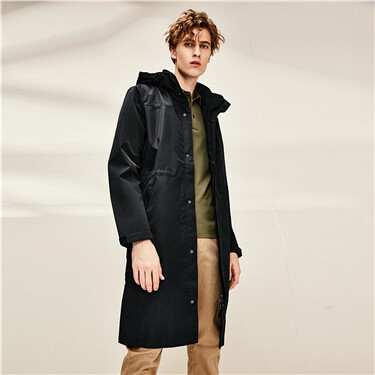 Banded waist mid long hooded jacket