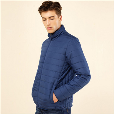 纯色修身立领棉衣外套