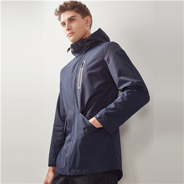 Elastic waistband hooded jacket
