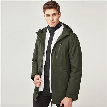 純色防潑水立領連帽棉衣外套
