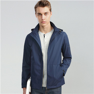Solid kanga pocket hooded jacket