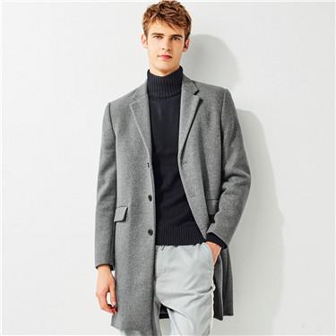 纯色平驳领中长款羊毛呢大衣