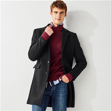 Notched collar wool-blend coat