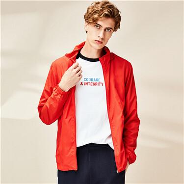 Printed hooded thin jacket