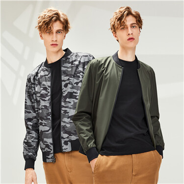 Reversible thin stand collar jacket