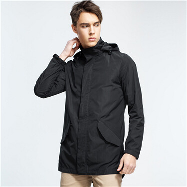 Stand collar detachable hood jacket