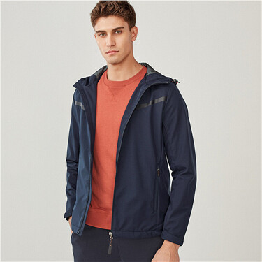Mesh-lining hooded jacket