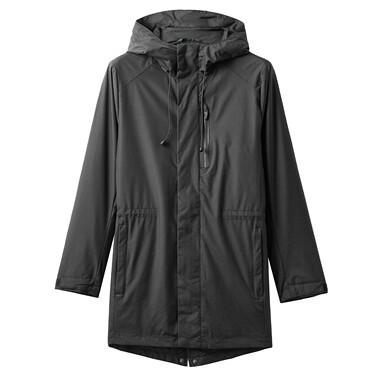 Mid long plain hooded jacket