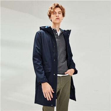复合摇粒绒连帽束腰中长款夹克外套
