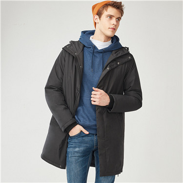Solid hooded long quilted jackets