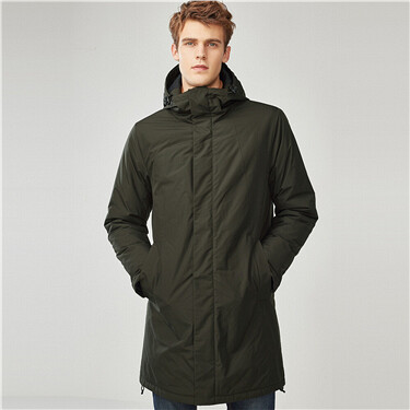 Solid hooded long quilted jack