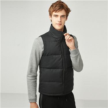 Solid stand collar quilted vest jacket