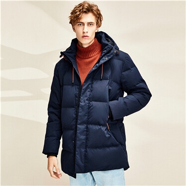 Mid long 80% grey duck down jacket