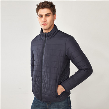 Solid stand collar quilted jacket