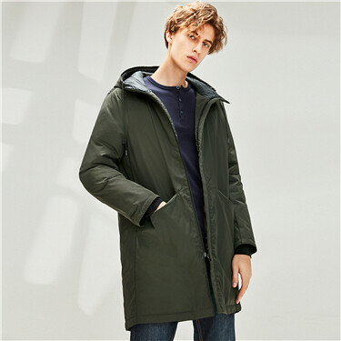 Mid long hooded 90% grey duck down jacket