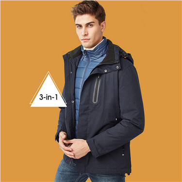 3-in-1 reflective pattern quilted detachable jacket