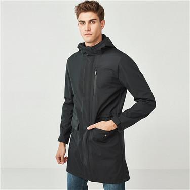 摇粒绒里中长款连帽夹克