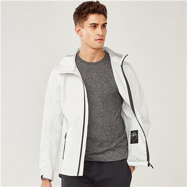 White waterproof hooded jacket