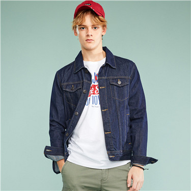 Washed denim cargo jacket
