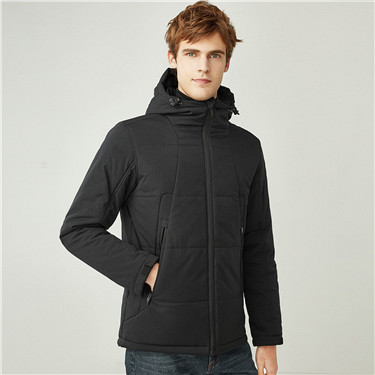 Stand collar hooded quilted jackets