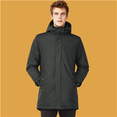 Mid-long hooded quilted coat