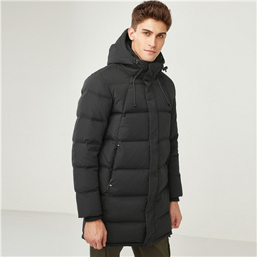 90% grey duck down hood mid-long down jackets