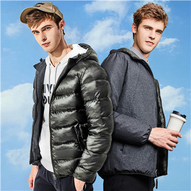 Reversible hooded lightweight down jackets