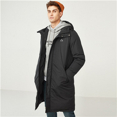 90% Grey duck down reflective printed long hooded down jacket