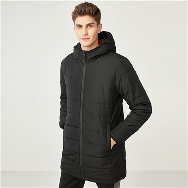 Solid mid-long hooded quilted coat