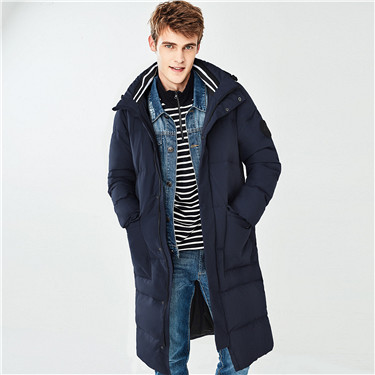 Detachable badge long down jacket