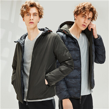 Reversible thin machine washable down jacket