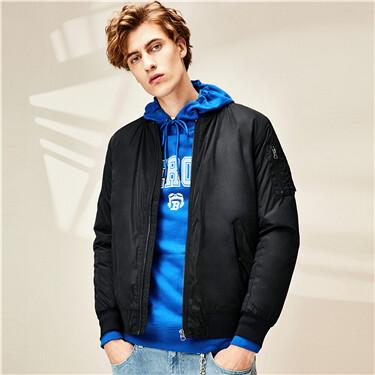 Multi-pocket baseball collar flight jacket