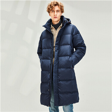 Long hooded 80% grey duck down jacket