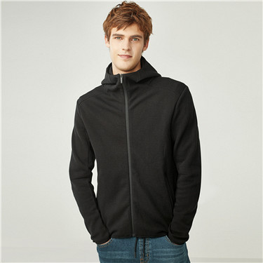 Interlock pique slim hooded sweatshirt