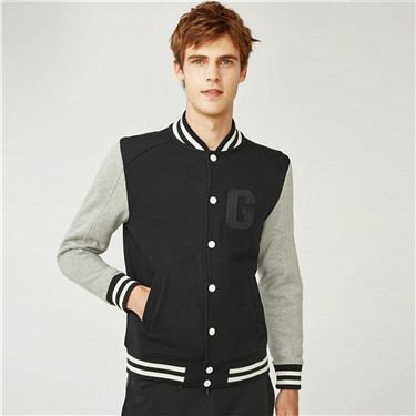 Embroidered contrast color baseball jacket