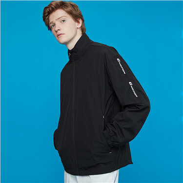 Mens G-MOTION Printed letter stand collar windbreaker