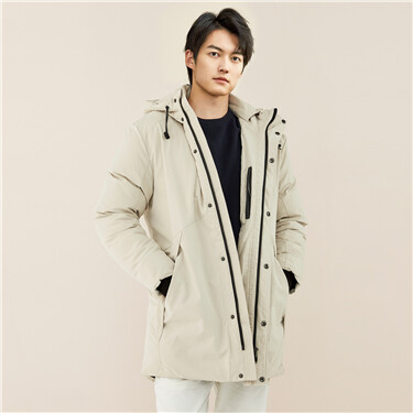 Thick mid-long grey duck down jacket