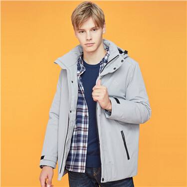 Detachable hood stand collar coat
