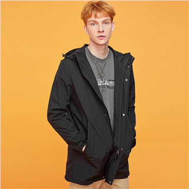 Polar fleece-lined mid-long hooded jacket