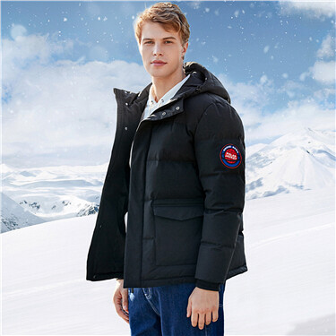 Thick hooded 90% grey goose down jacket