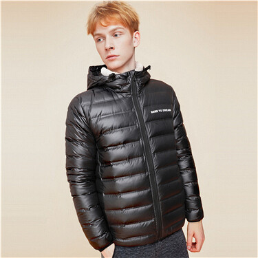 Detachable hooded 90% down jacket