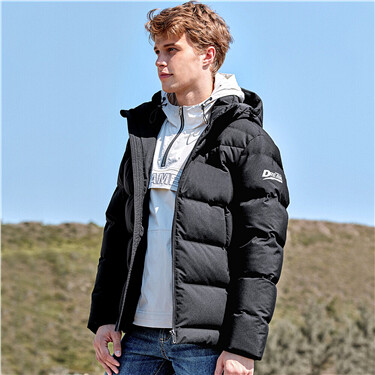 Thick stand collar grey duck down jacket