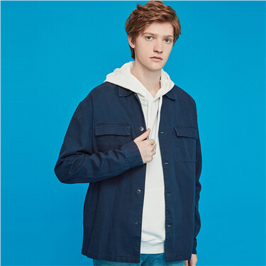 Flap pockets turn-down collar jacket