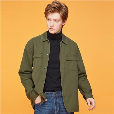 纯棉双贴袋翻领夹克外套